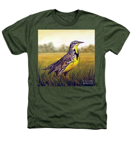 Western Meadowlark Afternoon Heathers T-Shirt by Tom Chapman