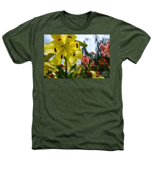 Yellow Whopper Lily 1 Heathers T-Shirt by Jacqueline Athmann