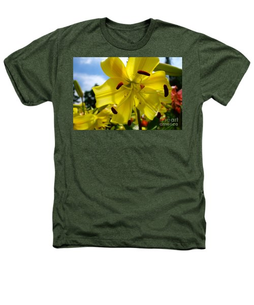 Yellow Whopper Lily 2 Heathers T-Shirt by Jacqueline Athmann