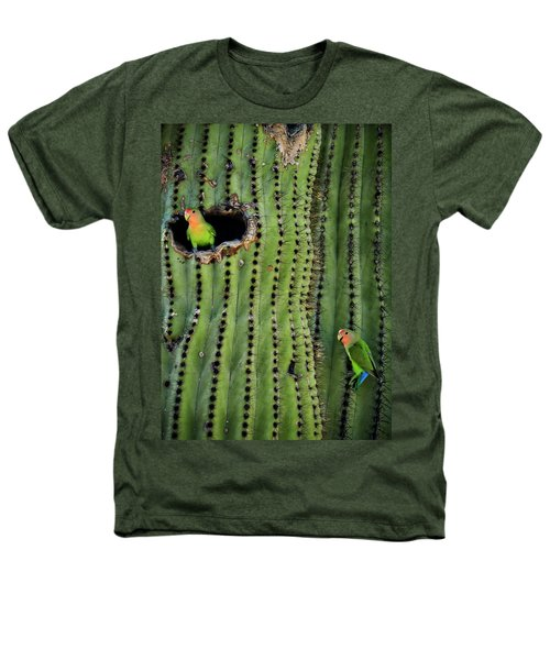 Lovebirds And The Saguaro  Heathers T-Shirt by Saija  Lehtonen