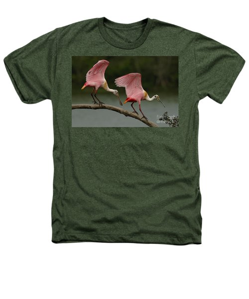 Rosiette Spoonbills Heathers T-Shirt by Bob Christopher