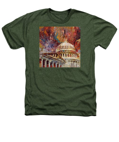 070 United States Capitol Building - Us Independence Day Celebration Fireworks Heathers T-Shirt by Maryam Mughal