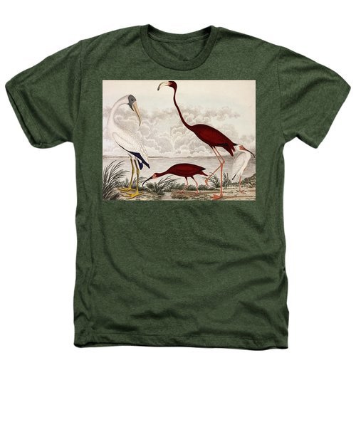 Wood Ibis, Scarlet Flamingo, White Ibis Heathers T-Shirt by Alexander Wilson
