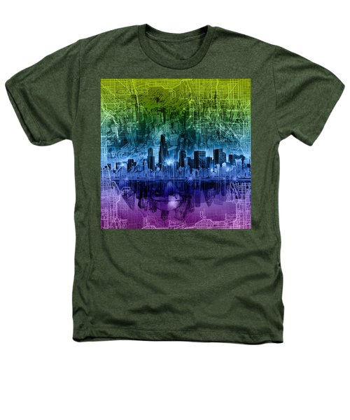 Chicago Skyline Abstract Heathers T-Shirt
