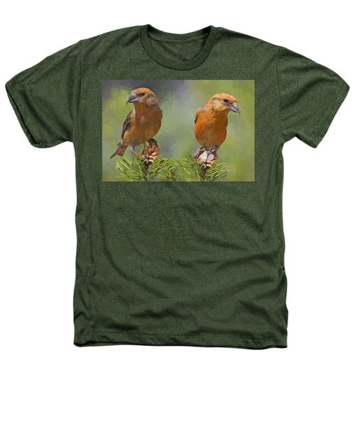 A Pair Of Male Red Crossbills - Painted Heathers T-Shirt