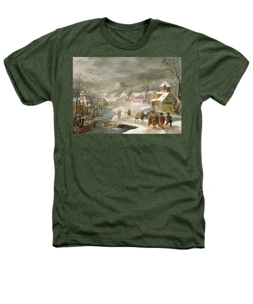 A Winter Landscape With Travellers On A Path Heathers T-Shirt by Denys van Alsloot