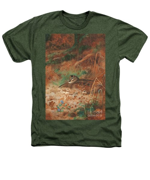 A Woodcock And Chick In Undergrowth Heathers T-Shirt by Archibald Thorburn