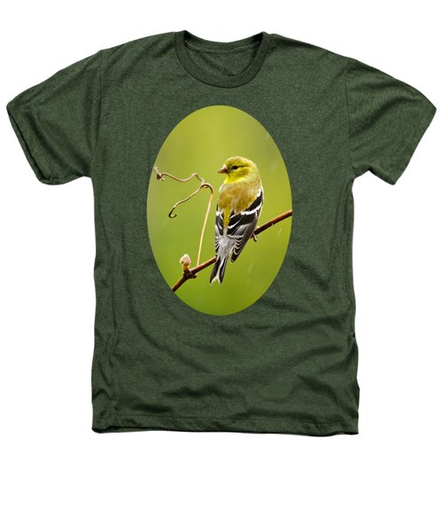 American Goldfinch In The Rain Heathers T-Shirt by Christina Rollo