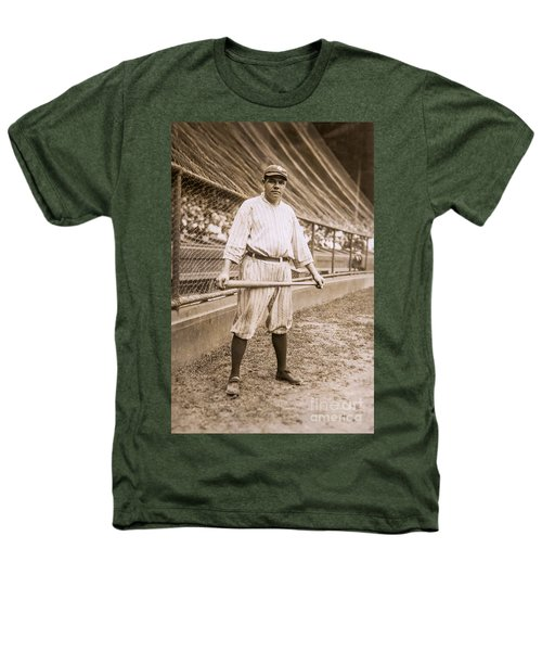 Babe Ruth On Deck Heathers T-Shirt by Jon Neidert