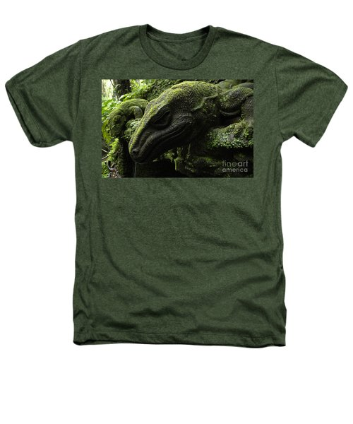 Bali Indonesia Lizard Sculpture Heathers T-Shirt by Bob Christopher