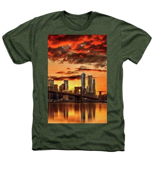 Blazing Manhattan Skyline Heathers T-Shirt by Az Jackson