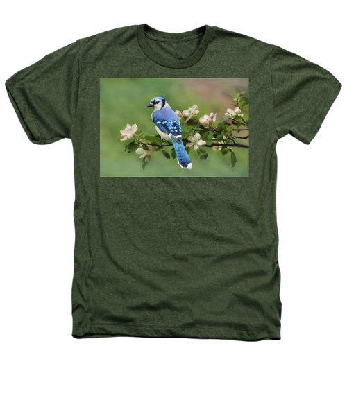 Blue Jay And Blossoms Heathers T-Shirt
