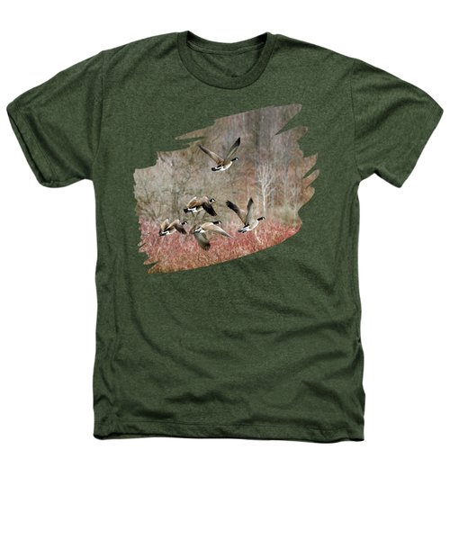 Canada Geese In Flight Heathers T-Shirt by Christina Rollo