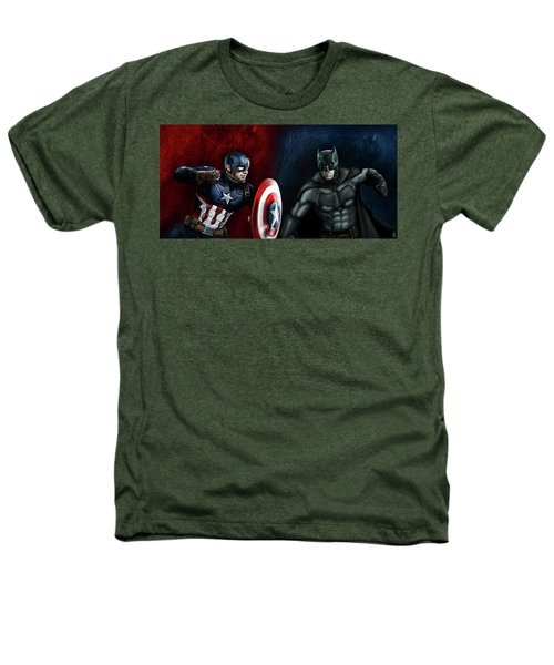 Captain America Vs Batman Heathers T-Shirt by Vinny John Usuriello