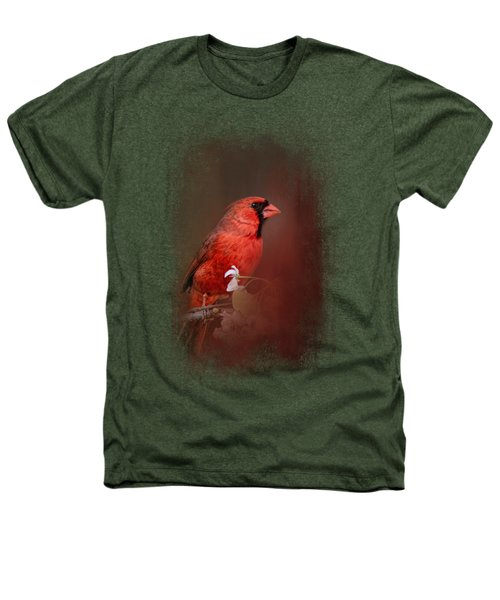 Cardinal In Antique Red Heathers T-Shirt by Jai Johnson