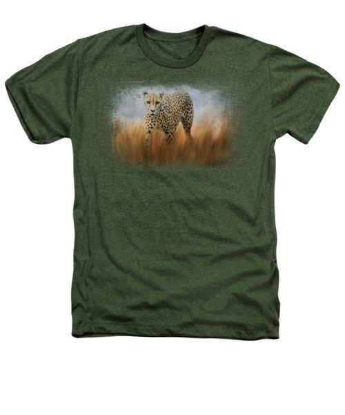 Cheetah In The Field Heathers T-Shirt by Jai Johnson