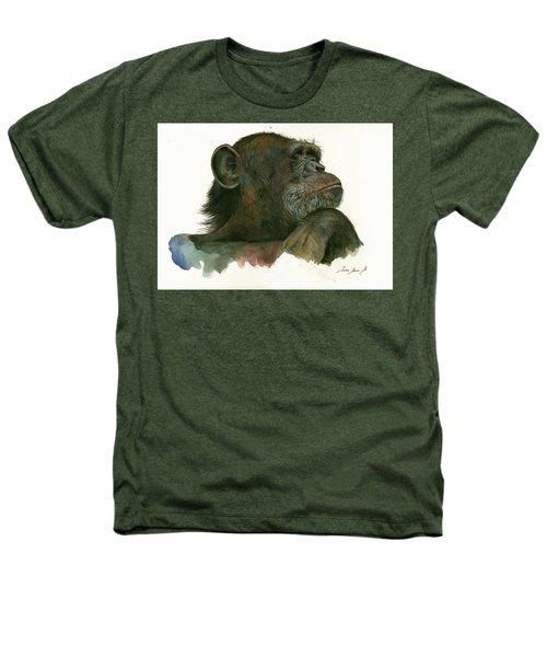 Chimp Portrait Heathers T-Shirt by Juan Bosco
