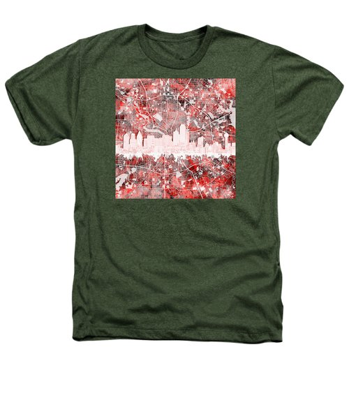 Dallas Skyline Map Red 2 Heathers T-Shirt