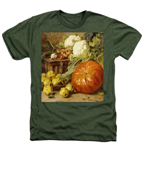 Detail Of A Still Life With A Basket, Pears, Onions, Cauliflowers, Cabbages, Garlic And A Pumpkin Heathers T-Shirt by Eugene Claude