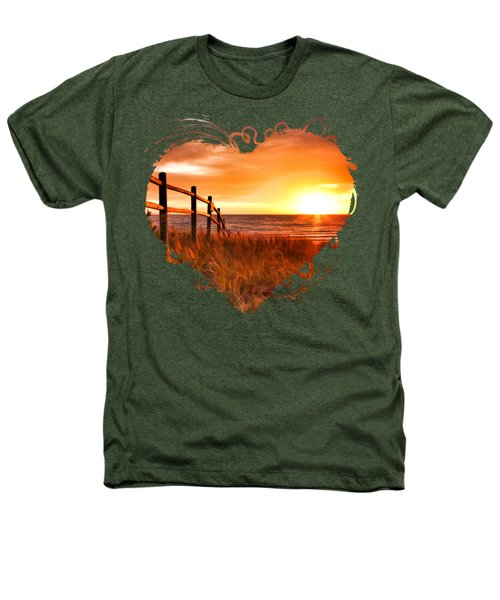 Door County Europe Bay Fence Sunrise Heathers T-Shirt by Christopher Arndt