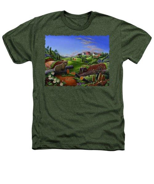 Farm Folk Art - Groundhog Spring Appalachia Landscape - Rural Country Americana - Woodchuck Heathers T-Shirt by Walt Curlee