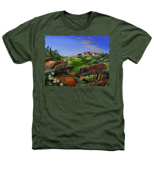Farm Folk Art - Groundhog Spring Appalachia Landscape - Rural Country Americana - Woodchuck Heathers T-Shirt