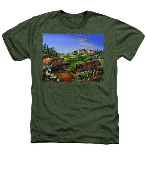 Farm Folk Art - Groundhog Spring Appalachia Landscape - Rural Country Americana - Woodchuck Heathers T-Shirt