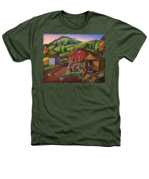 Folk Art Americana - Farmers Shucking Harvesting Corn Farm Landscape - Autumn Rural Country Harvest  Heathers T-Shirt