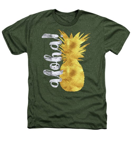 Gold And Silver Aloha Pineapple Tropical Fruit Of Hawaii Heathers T-Shirt