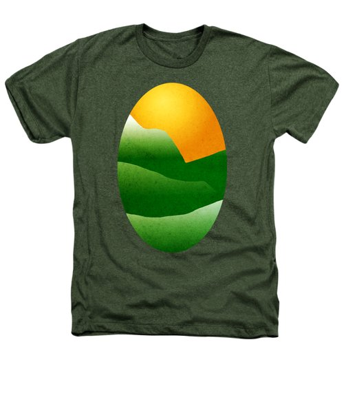 Green Mountain Sunrise Landscape Art Heathers T-Shirt