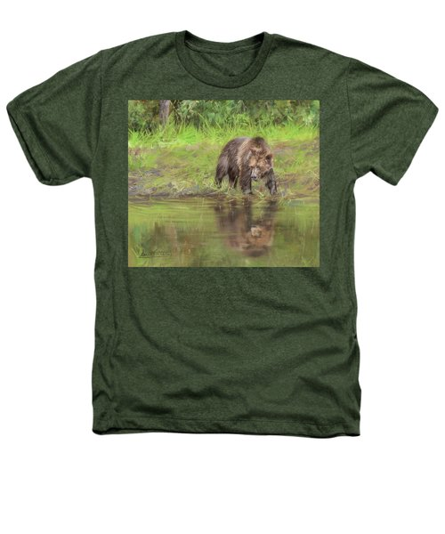 Grizzly Bear At Water's Edge Heathers T-Shirt