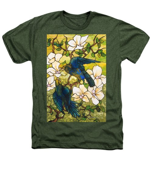 Hibiscus And Parrots Heathers T-Shirt by Louis Comfort Tiffany