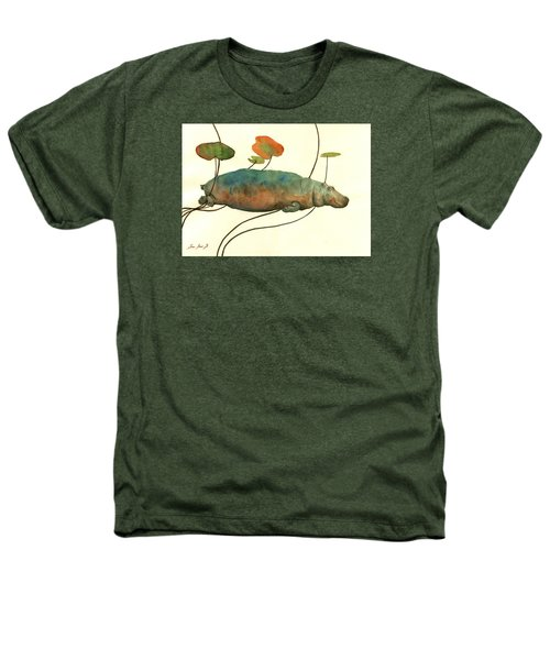 Hippo Swimming With Water Lilies Heathers T-Shirt