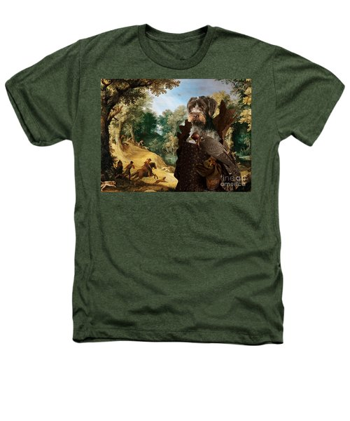 Korthals Pointing Griffon Art Canvas Print - The Hunters And Lady Falconer Heathers T-Shirt