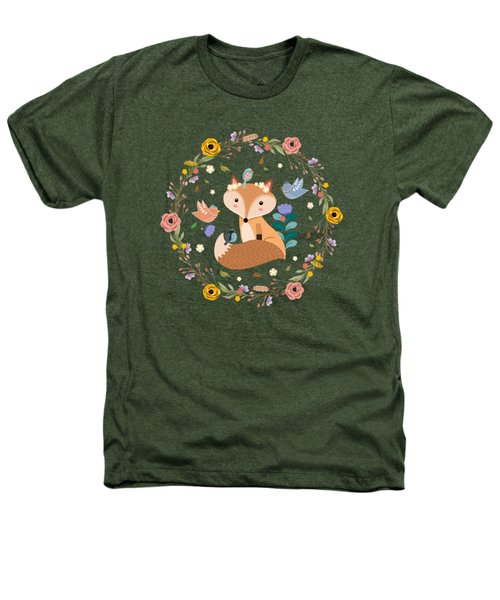 Little Princess Fox With Friends And Foliage Heathers T-Shirt