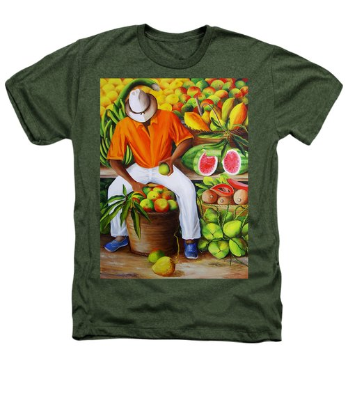 Manuel The Caribbean Fruit Vendor  Heathers T-Shirt
