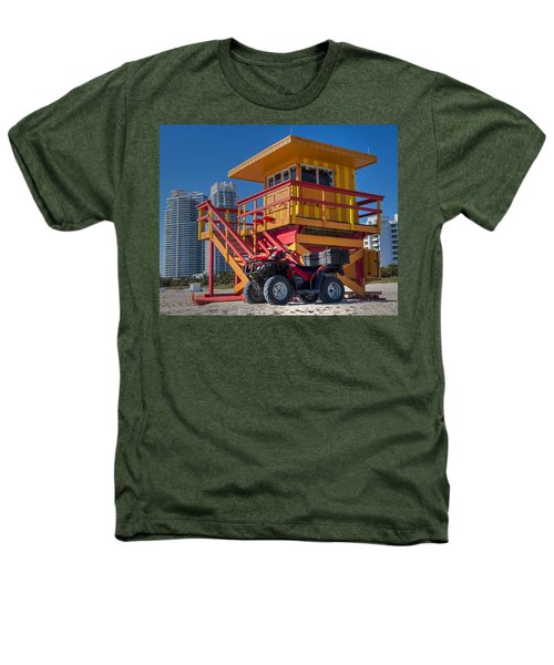 Miami Beach Lifeguard House Ocean Rescue Heathers T-Shirt by Toby McGuire