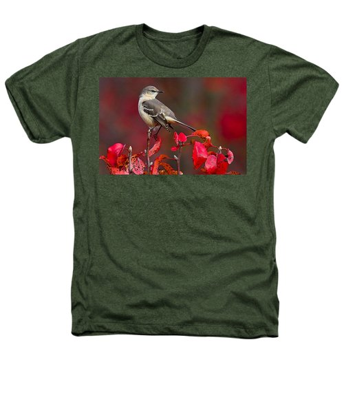 Mockingbird On Red Heathers T-Shirt by William Jobes