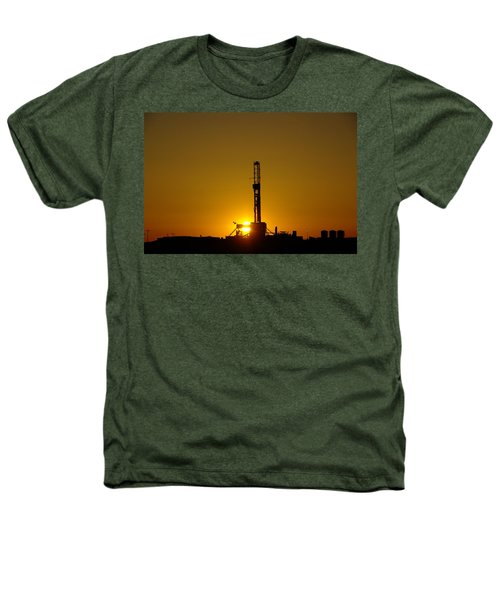 Oil Rig Near Killdeer In The Morn Heathers T-Shirt by Jeff Swan