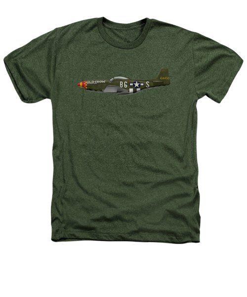 Old Crow - P-51 D Mustang Heathers T-Shirt by Ed Jackson