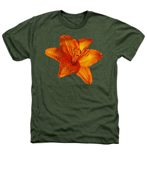 Orange Lily In Sunshine After The Rain Heathers T-Shirt