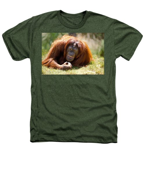 Orangutan In The Grass Heathers T-Shirt by Garry Gay