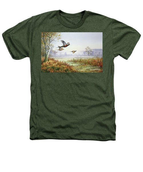 Pheasants In Flight  Heathers T-Shirt by Carl Donner
