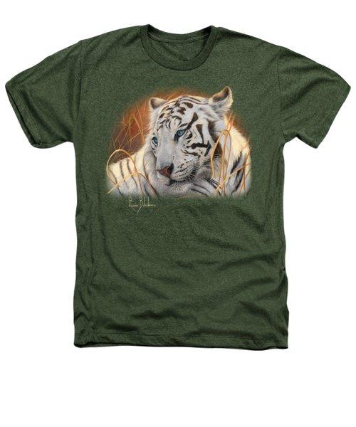 Portrait White Tiger 1 Heathers T-Shirt by Lucie Bilodeau