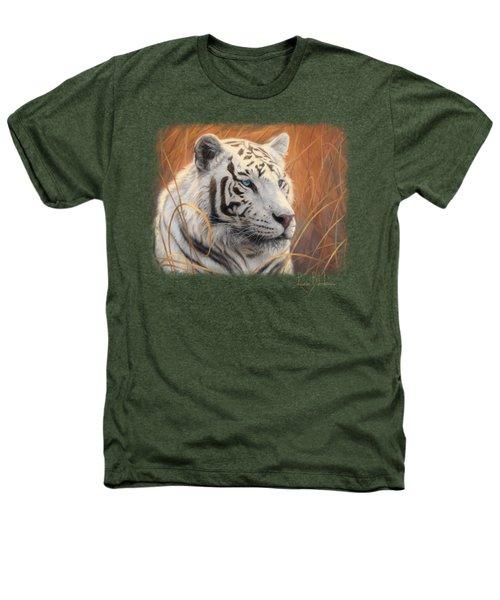 Portrait White Tiger 2 Heathers T-Shirt by Lucie Bilodeau