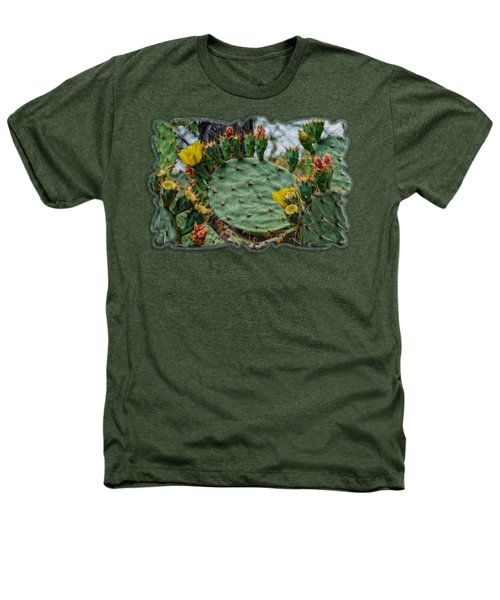 Prickly Pear Flowers Op46 Heathers T-Shirt by Mark Myhaver