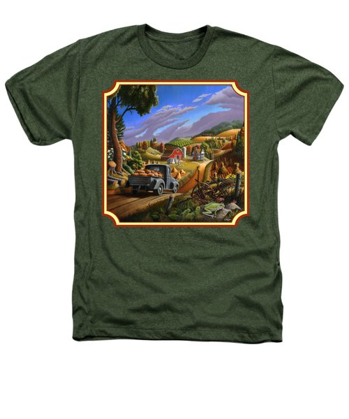 Pumpkins Farm Folk Art Fall Landscape - Square Format Heathers T-Shirt by Walt Curlee