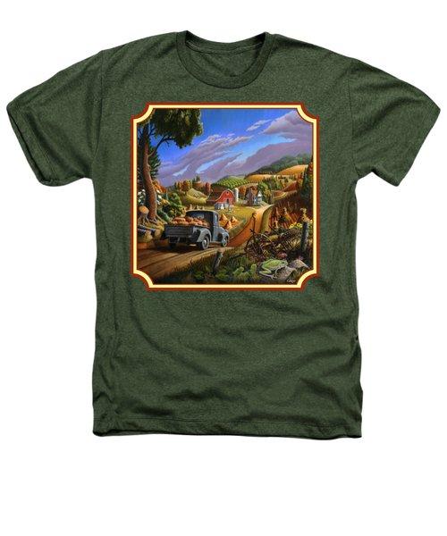 Pumpkins Farm Folk Art Fall Landscape - Square Format Heathers T-Shirt