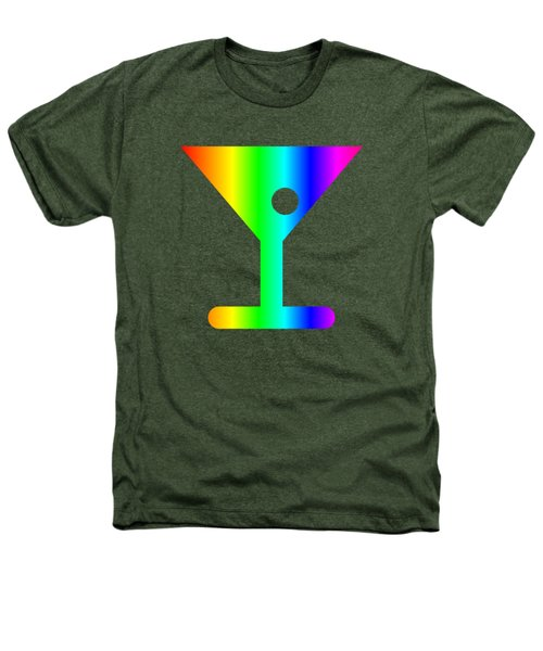 Rainbow Martini Glass Heathers T-Shirt by Frederick Holiday