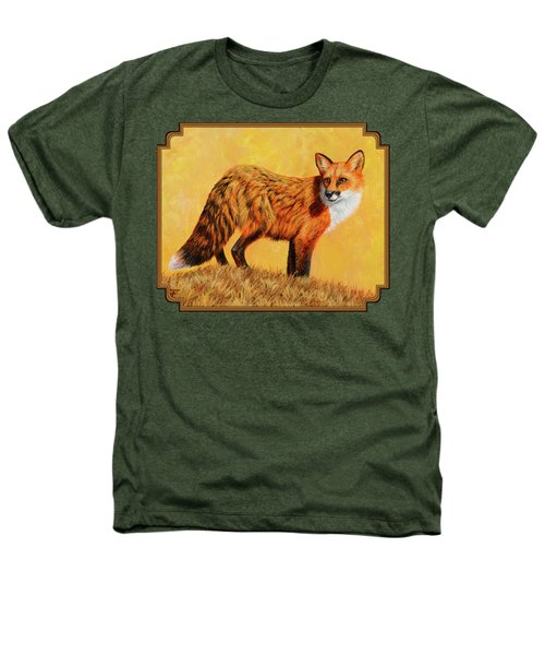 Red Fox Painting - Looking Back Heathers T-Shirt